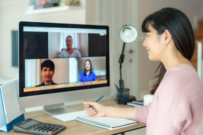 Woman engaging in a work video call
